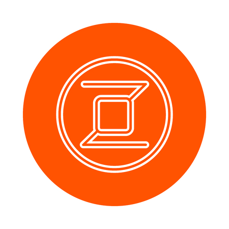Modified symbol of digital crypto currency Zerocoin, monochrome round line icon, flat style, simple color change