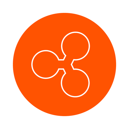 Ripple crypto currency image, round monochrome line icon, simple color change Illustration
