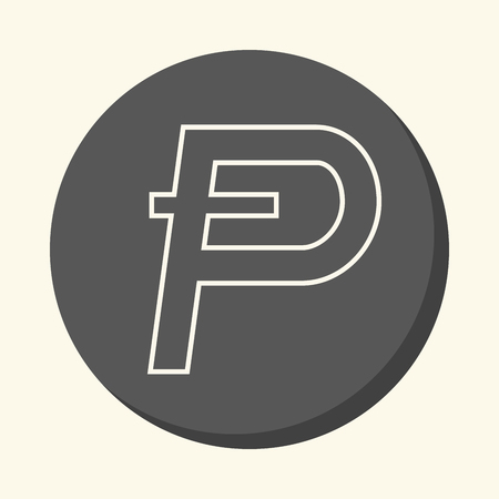 Symbol of digital crypto currency Potcoin, round line icon with illusion of volume, simple color change