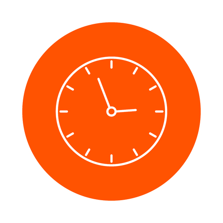 School wall clock, vector round linear icon, simple color change, flat style Illustration