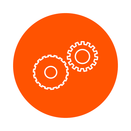 Two mechanical gears symbolizing mechanics, a vector circular line icon, simple color change, a flat style