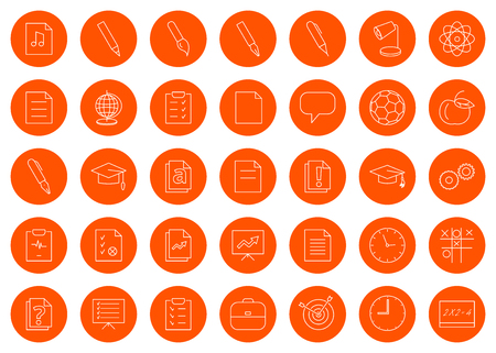 For a school site or booklet, a set of thirty-five vector line round monochrome icon icons, color change in one click