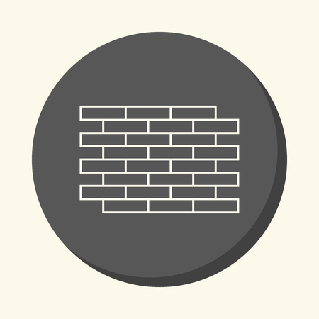 Brick wall, vector round line icon with the illusion of volume, color change in one click.