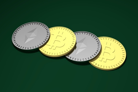 Four coins lying in a row, silver with the symbol of the Ethereum, Etherium and gold with the symbol of Bitcoin, 3d rendering.