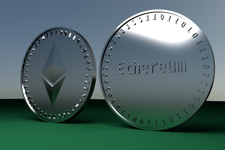Two coins of digital crypto currency Ethereum standing on the edge, 3d rendering Stock Photo