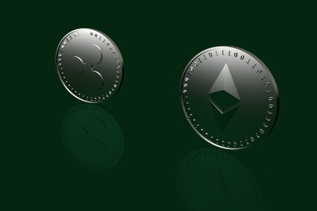Two coins with symbols of digital crypto currency Ripple and Ethereum standing on the edge on a green glass table, 3d rendering