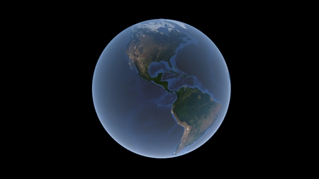 North America and South America surrounded by a blue ocean on the Earth ball, an isolated globe, 3D rendering