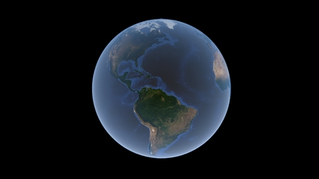 Atlantic Ocean between Europe, Africa and America on the Earth ball, isolated globe, 3D rendering Stock Photo