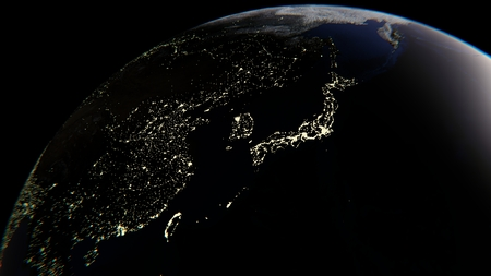 The lights of cities on Earth, in the center of Japan, 3D rendering, the elements of this image are furnished by NASA Stock Photo