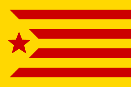 Informal flag of Catalan lands, red estelada, vector Illustration