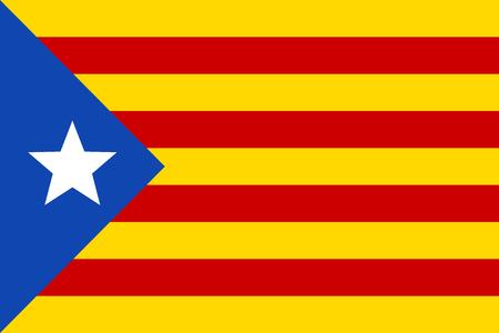 Informal flag of Catalan lands, blue estelada, vector Illustration