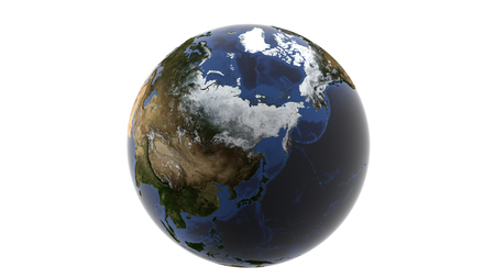 View of a huge snowy Russia and Alaska, isolated globe of earth on a white background, 3d rendering, elements of this image furnished by NASA