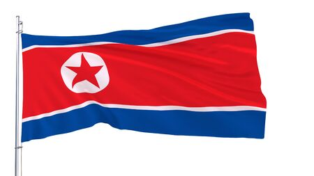 Flag of North Korea on a flagpole fluttering in the wind on a white background, 3d render Stock Photo