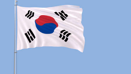 Flag of South Korea on the flagpole fluttering in the wind on a pure blue background, 3d rendering Stock Photo