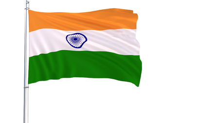 Flag of India on the flagpole fluttering in the wind on a white background, 3d rendering