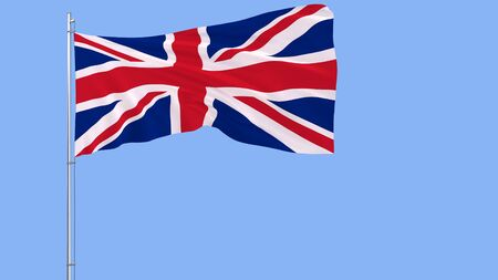 Flag of Great Britain on a flagpole fluttering in the wind on blue background, 3d rendering Stock Photo
