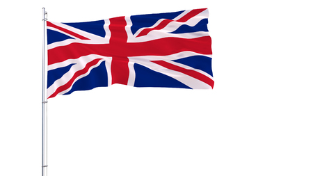 Flag of United Kingdom on a flagpole fluttering in the wind on white background, 3d rendering Stock Photo