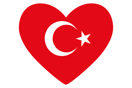 Heart in colors and symbols of the Turkish flag, vector Illustration