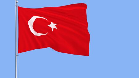 Flag of Turkey on a flagpole fluttering in the wind on a blue background, 3d rendering