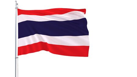 Flag of Thailand on a flagpole fluttering in the wind on white background, 3d rendering