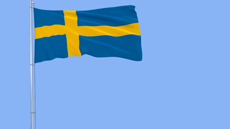 Flag of Sweden on a flagpole fluttering in the wind on blue background, 3d rendering Stock Photo - 88536846