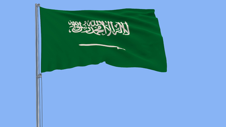 Flag of Saudi Arabia on a flagpole fluttering in the wind on a blue background, 3d rendering