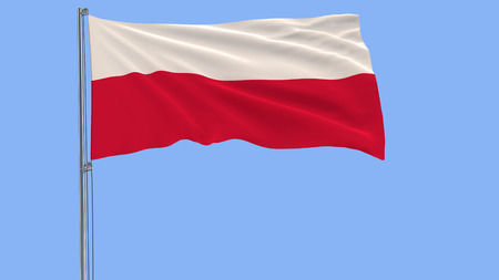 Flag of Poland on a flagpole fluttering in the wind on a blue background Stock Photo