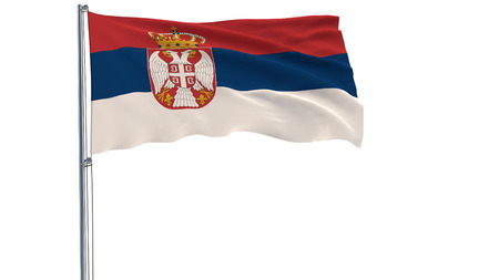 Isolate flag of Serbia on a flagpole fluttering in the wind on a white background, 3d rendering, PNG format with ALPHA transparency
