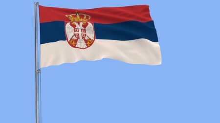 Isolate flag of Serbia on a flagpole fluttering in the wind on a blue background, 3d rendering, PNG format with ALPHA transparency