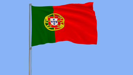 Isolate flag of Portugal on a flagpole fluttering in the wind on a blue background, 3d rendering Stock Photo