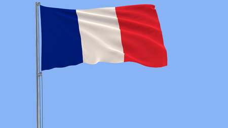 Isolate flag of France on a flagpole fluttering in the wind on a blue background, 3d rendering, PNG format with ALPHA transparency 写真素材