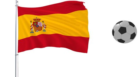 A realistic soccer ball flies around the realistically fluttering flag of Spain on a white background, 3d rendering