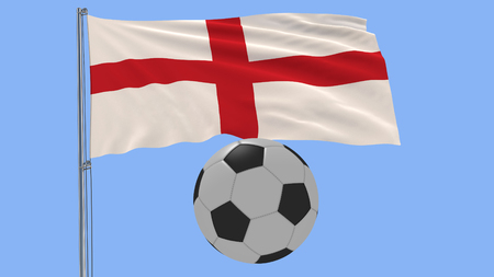 Realistic fluttering flag of England and soccer ball on a blue background, 3d rendering