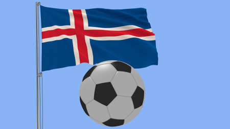 Realistic fluttering flag of Iceland and soccer ball flying around on a blue background, 3d rendering