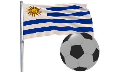 Realistic fluttering flag of Uruguay and soccer ball flying around on a white background, 3d rendering Stock Photo