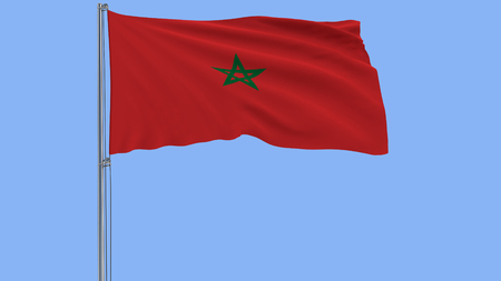 Isolate flag of Morocco on a flagpole fluttering in the wind on a white blue, 3d rendering Stock Photo