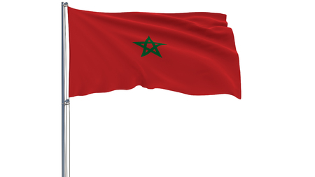 Isolate flag of Morocco on a flagpole fluttering in the wind on a white background, 3d rendering