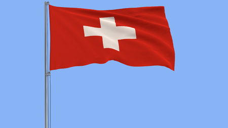 Isolate flag of Switzerland on a flagpole fluttering in the wind on a blue background, 3d rendering