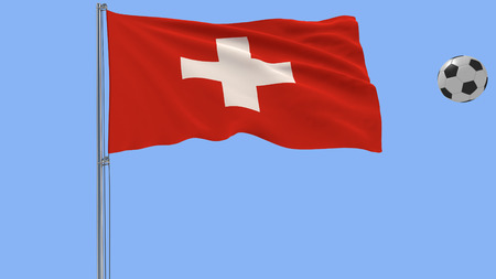 Realistic fluttering flag of Switzerland and soccer ball flying around on a blue background, 3d rendering