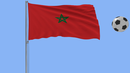 Realistic fluttering flag of Morocco and soccer ball flying around on a blue background, 3d rendering