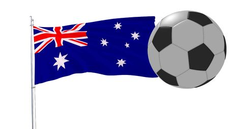 Realistic fluttering flag of Australia and soccer ball flying around on a white background, 3d rendering Stock Photo