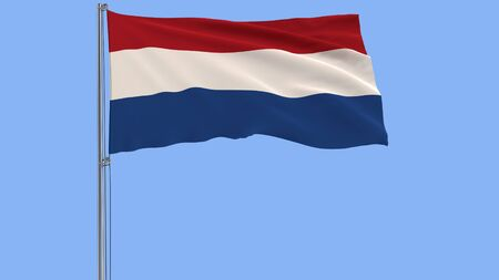 Isolate flag of Netherlands on a flagpole fluttering in the wind on a blue background, 3d rendering