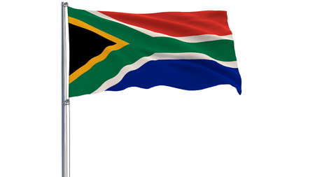 Isolate flag of Republic of South Africa on a flagpole fluttering in the wind on a white background, 3d rendering