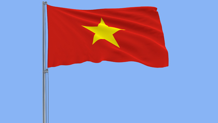 Isolate flag of Vietnam on a flagpole fluttering in the wind on a blue background, 3d rendering