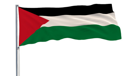 Isolate flag of Palestine on a flagpole fluttering in the wind on a white background, 3d rendering