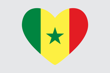 Heart in colors of the Senegal flag, vector