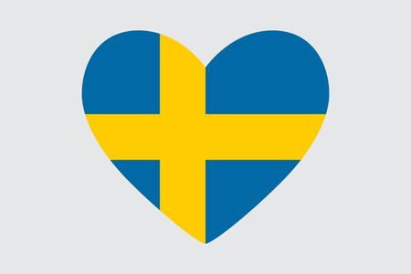 Heart in colors of the Sweden flag, vector