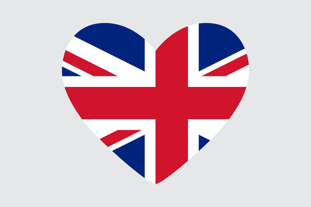Heart in colors of the United Kingdom flag, vector illustration.