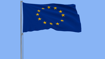 Isolate flag of the EU on a flagpole fluttering in the wind on a blue background, 3d rendering