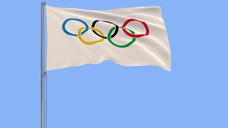 2017年12月10日:青い背景に風に揺れる旗柱にオリンピック旗の3Dイラスト、3Dレンダリング